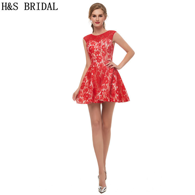 H&S BRIDAL Red   Cocktail     Dresses   O-Neck Mini   Cocktail     dress   robe de   cocktail   Lace Short Prom   Dresses