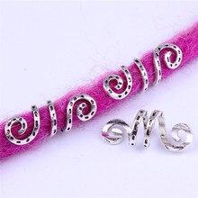 5 шт. металлическая Серебряная спиральная оплетка викингов для волос, бисер для бороды, дредлок, кольца, зажимы для волос, аксессуары для волос, амулеты
