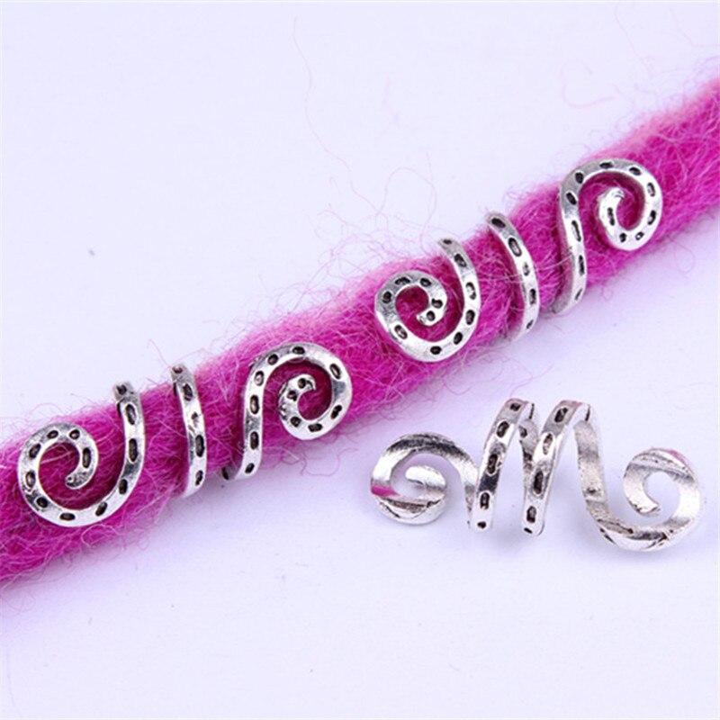 5pcs Metal Silver Viking Spiral Hair Braid Dread Beard Dreadlock Beads Rings Tube Clips For Hair Accessories Charms