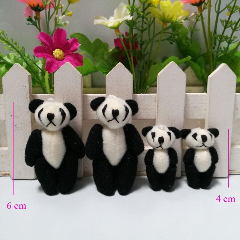 wholesale 100pcs lot 3 5cm to 4cm Mini Stuffed Jointed Panda Doll Plush Toys DIY Wedding