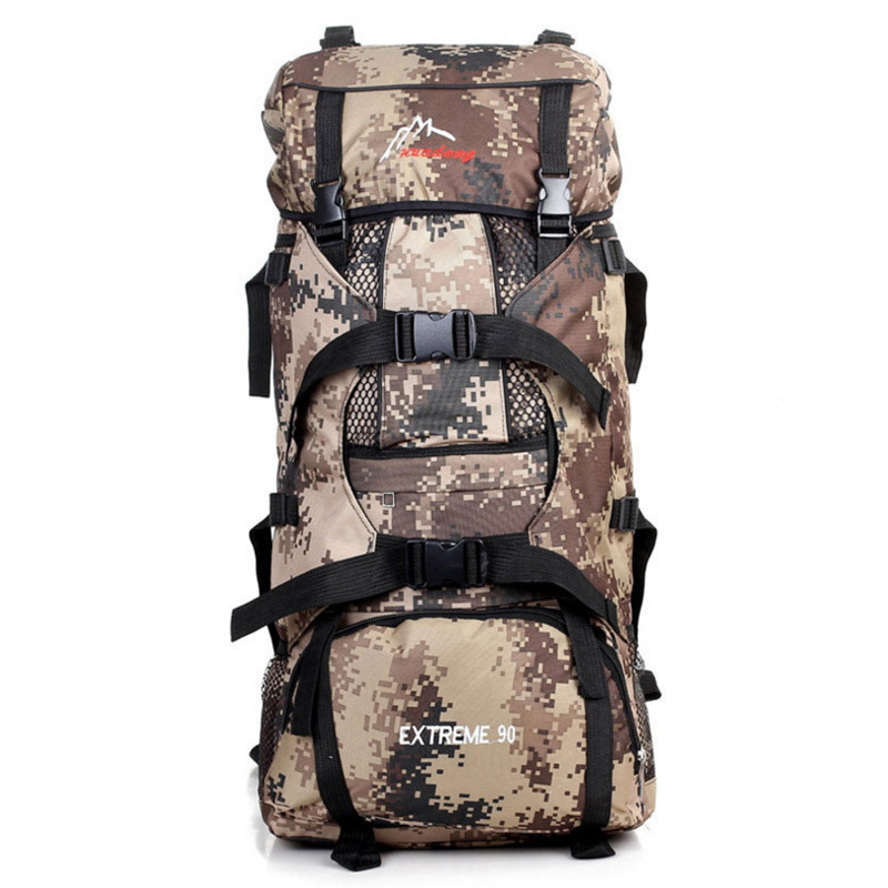 70L Men Military Backpack Large Capacity Camouflage Bag Women Mountaineering Backpack Waterproof Travel Bag 75l external frame support outdoor backpack mountaineering bag backpack men and women travel backpack a4809