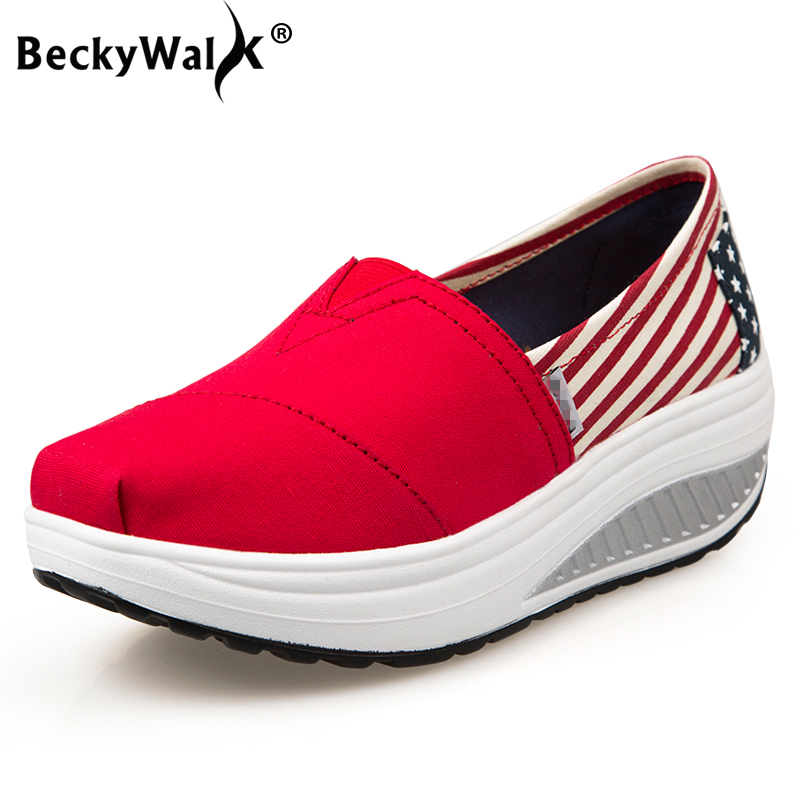 BeckyWalk Spring Women Loafers Print Casual Comfortable Flat Shoes Women Slip On Platform Canvas Shoes Woman Sneakers WSH2933