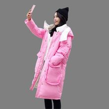 New 2017 Winter Women Coat Fashion Casual Jacket Hooded Thick Warm Medium-long Solid color Loose Big yards Down Jacket G0145