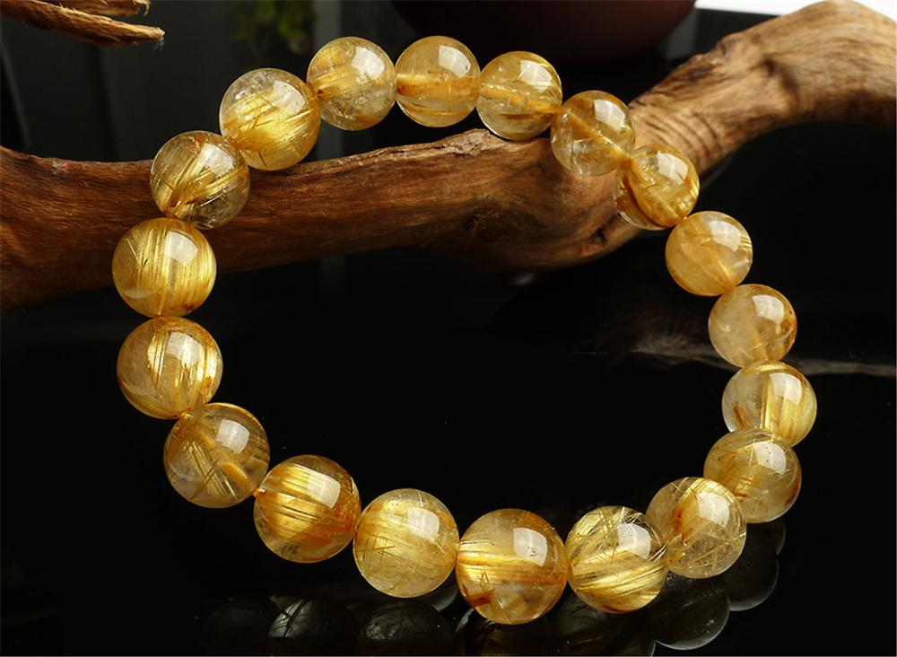 11mm Natural Brazil Gold Rutilated Quartz Crystal Titanium Woman Man Fashion Round Beads Bracelet Jewelry Bangle AAAA in Bracelets Bangles from Jewelry Accessories