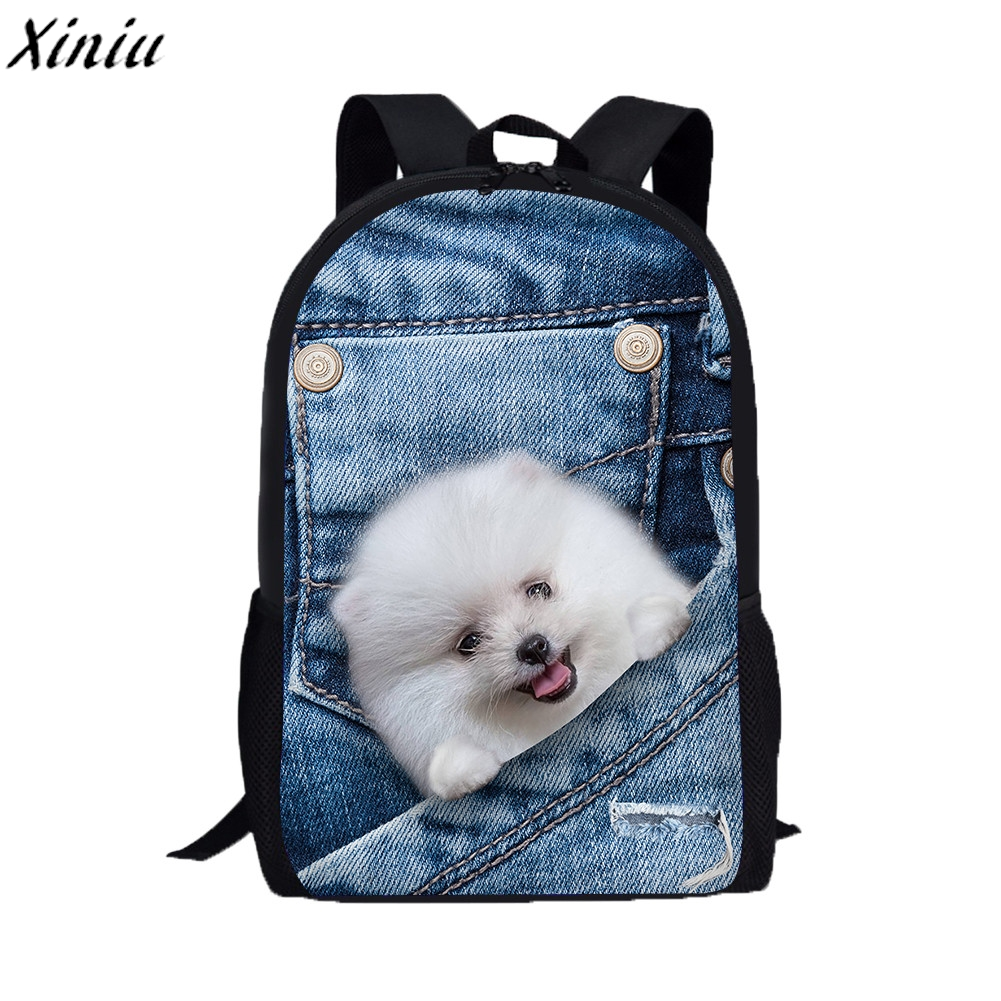 3D Printng Backpack Cute Cat Dog Pattern Student Schoolbag College Back Pack Fashion Bagpack Cartable Sac A Dos Adolescent #9731