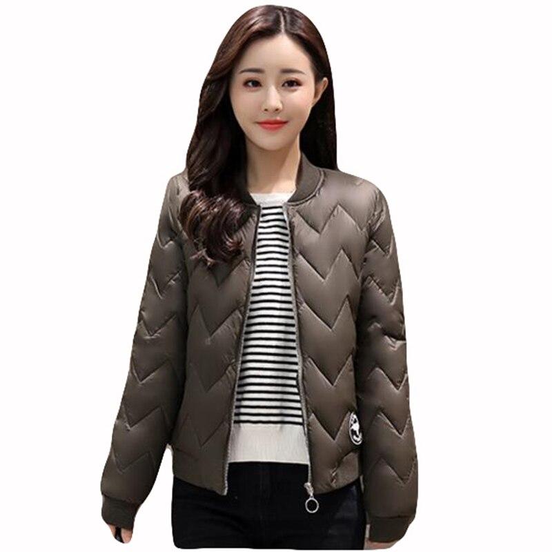 2017 Women tops Coats Casual Candy Color Overcoat Winter female Coat Parka Slim Short Jacket fashion Padded women parka QH0526