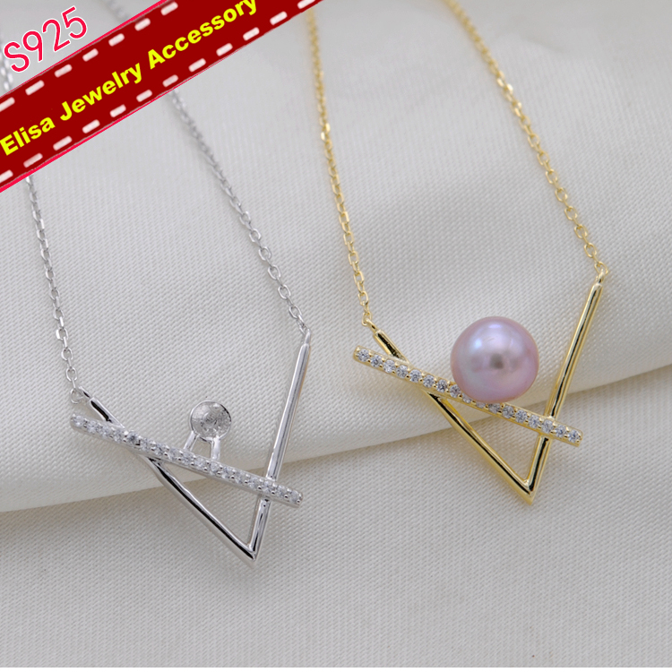 V Design Pendant Chain Fittings S925 Sterling Silver Pearl Pendant Choker Components Women DIY Necklace Jewelry