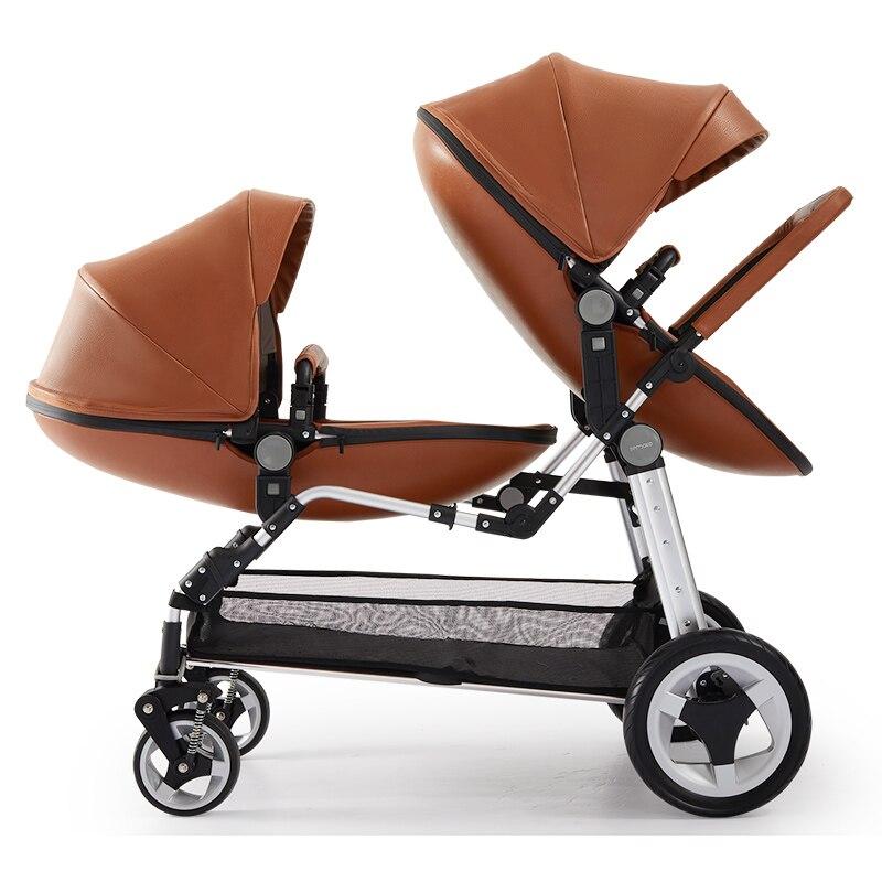 Semaco ligero de paisaje en 1 cochecito de bebé delante y asientos traseros puede mentir baja y puede sentarse Doble