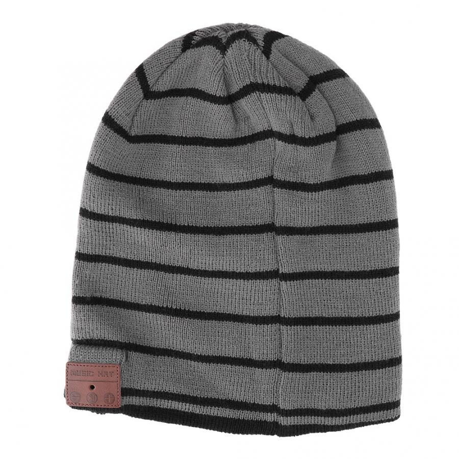 Black Gray Stripe Wireless Bluetooth Knitting Hat Music with Stereo Headphone Heads