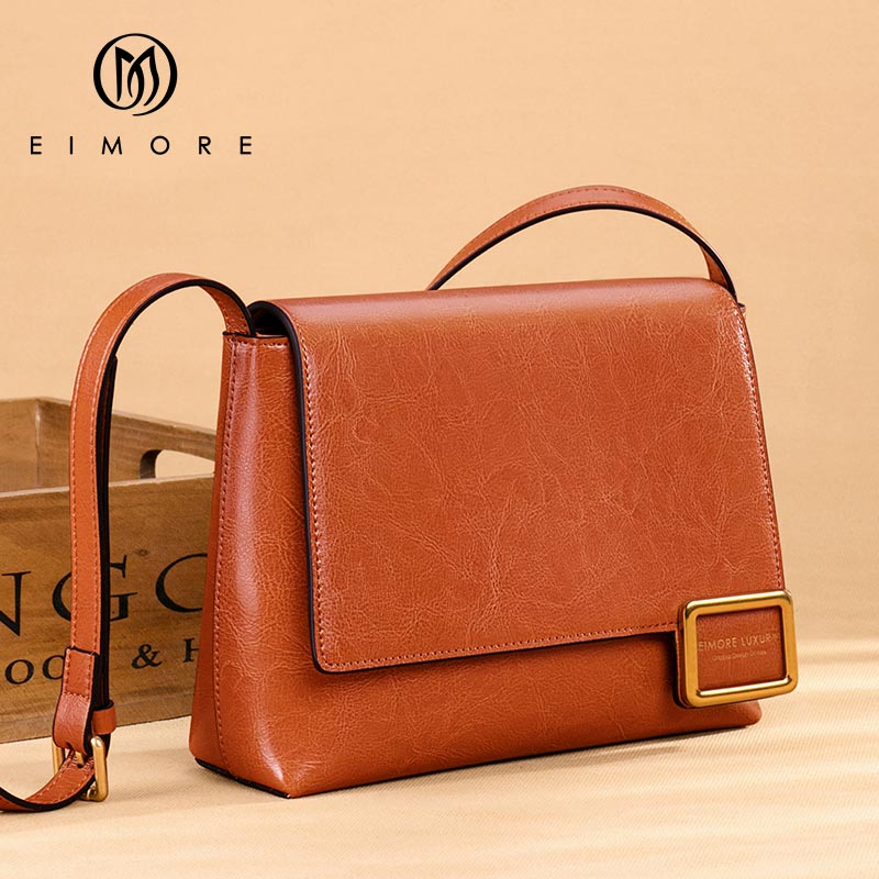 Image 3 - EIMORE Crossbody Bag Women's New 2019 Woman Bag Spring Fashion Square Bag Female Simple Wild Leather Shoulder Messenger Bag-in Top-Handle Bags from Luggage & Bags