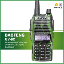Free Shipping Camouflage 5W VHF UHF Dual Band Baofeng UV-82 Walkie Talkie Dual PTT Two Way Radio+ Double PTT Headset