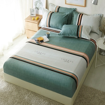 1pcs Polyester Geometric Striped Gray Green Bed