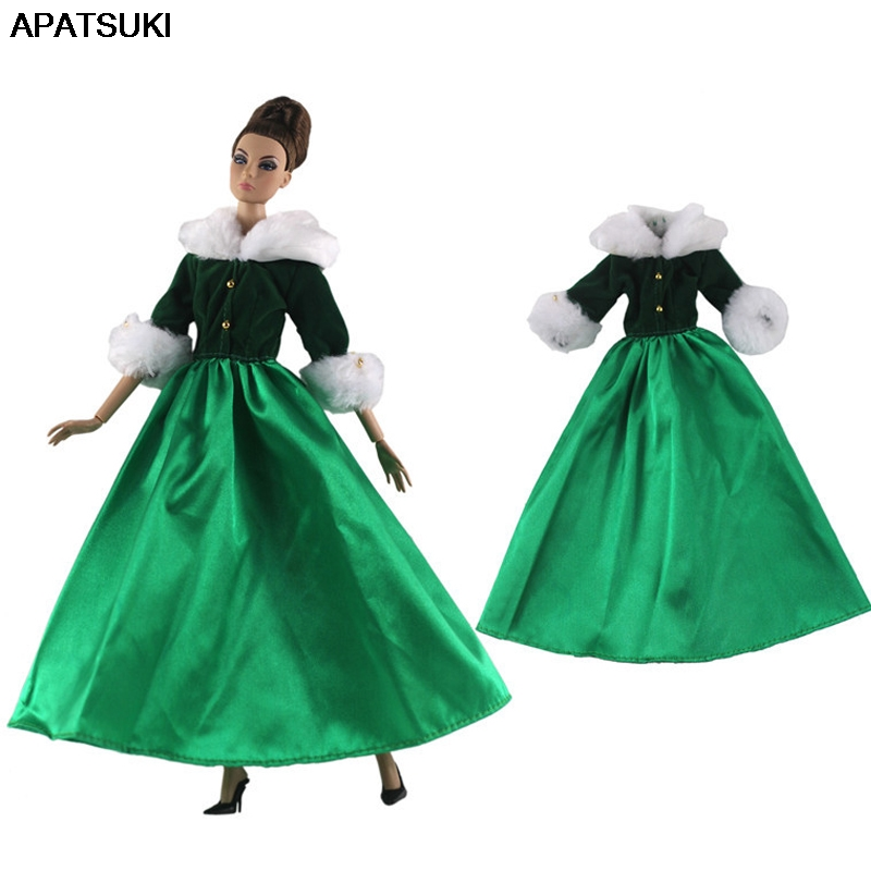 Green Fashion Doll Clothes For Barbie Doll Princess 1/6 Doll Accessories Party Dress For Barbie Doll Clothes Outfits Kids Toy