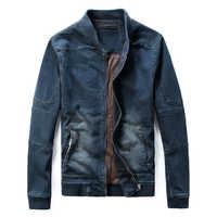 Autumn Winter Korean Male Slim Denim Jacket Stand Collar Tide Baseball Uniform Biker Jean Jacket Men Casual Coats Wash Water