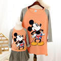 2015 autumn family clothing causal t shirts for children women plus size cartoon mickey t shirt matching mother daughter clothes