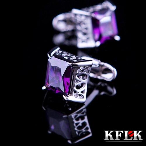 3 Color KFLK Luxury Brand Cuff Buttons Purple Crystal Cuff Links High Quality Abotoadura Shirt Cufflinks For Mens Jewelry