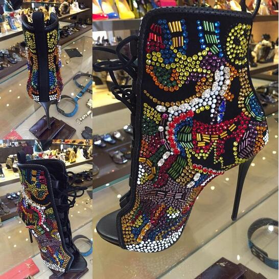 Fashion Crystal Covered Comic Open Toe Booties Lace Up High Heels Summer Sandals Boots Multicolor Diamond Sexy Ladies Stiletto