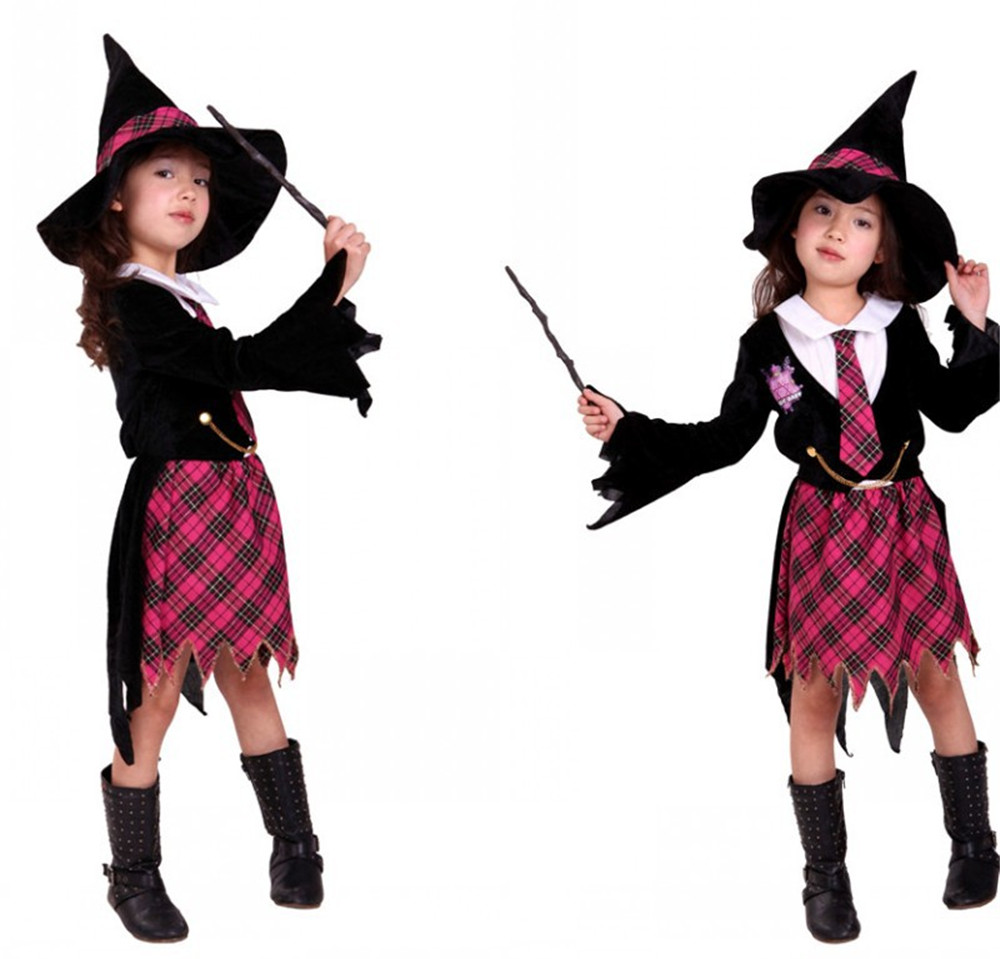 cosplay children kids girls magic witch dress / hat vampire suit