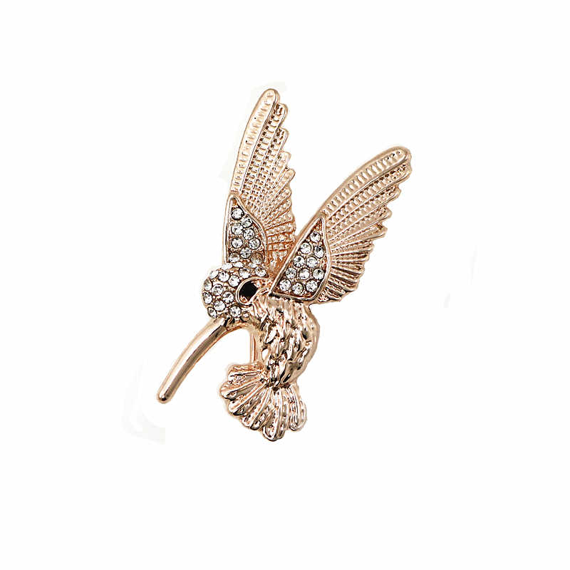 Oneckoha Fashion Perhiasan Berlian Imitasi Hummingbird Bros Pin Cute Hewan Burung PIN WANITA Perhiasan Bros