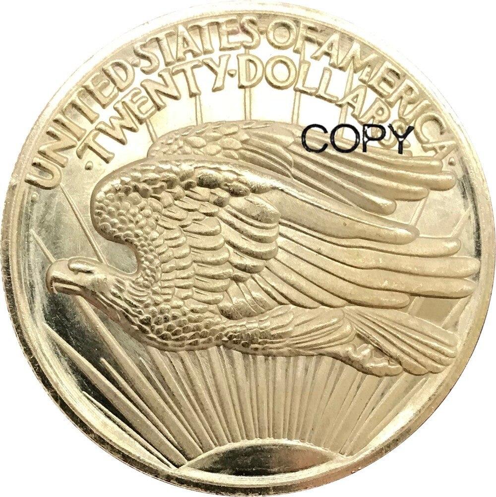 Английские римские цифры Saint-Gaudens - Double Eagle, no motto 1907, латунные металлические копировальные монеты, 20 долларов США