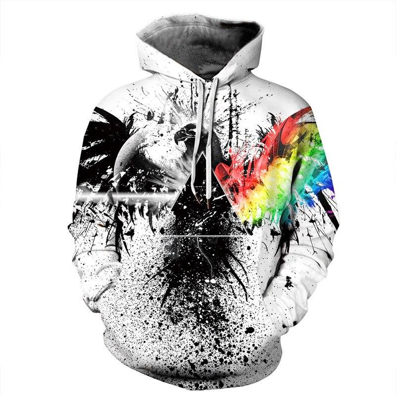 Animal Eagle Print Hoodies Men Hoodie with Hat Round Neck Loose Sweatshirt Pullover Sudaderas Para Hombre Streetwear