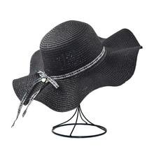 XCZJ Summer Beach Hat Women Panama Straw Caps Wide Brim Visors Casual Hats Lady Brand Hand Made Sun Flat Gorras H098