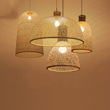 Vintage Bamboo Art Pendant Lights Wood Wicker Chinese Pendant Lamp Suspension Home Indoor Dining Room Kitchen Fixtures Luminaire(China)