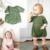 Ins Quentes Doce Bonito Rosa & verde Romper Roupas macacão de bebê Da Menina do Menino de Malha de Algodão Crianças Roupas