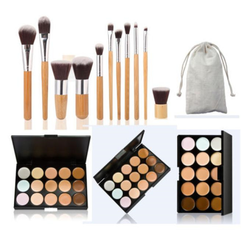 15 Colors Face Concealer Camouflage Cream Contour Palette +11pcs makeup brushes Set Bamboo Powder Blending Brush Cosmetic tools makeup base color corrector contour cream concealer palette