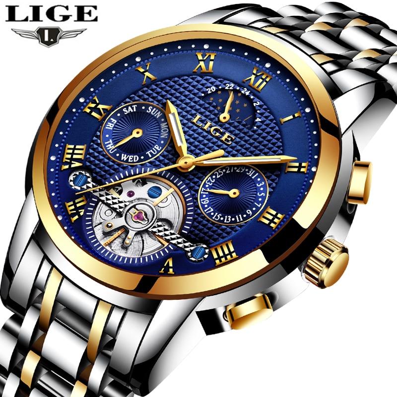 LIGE для мужчин s часы лучший бренд класса люкс автоматические механические часы для мужчин полный сталь бизнес водонепроница...
