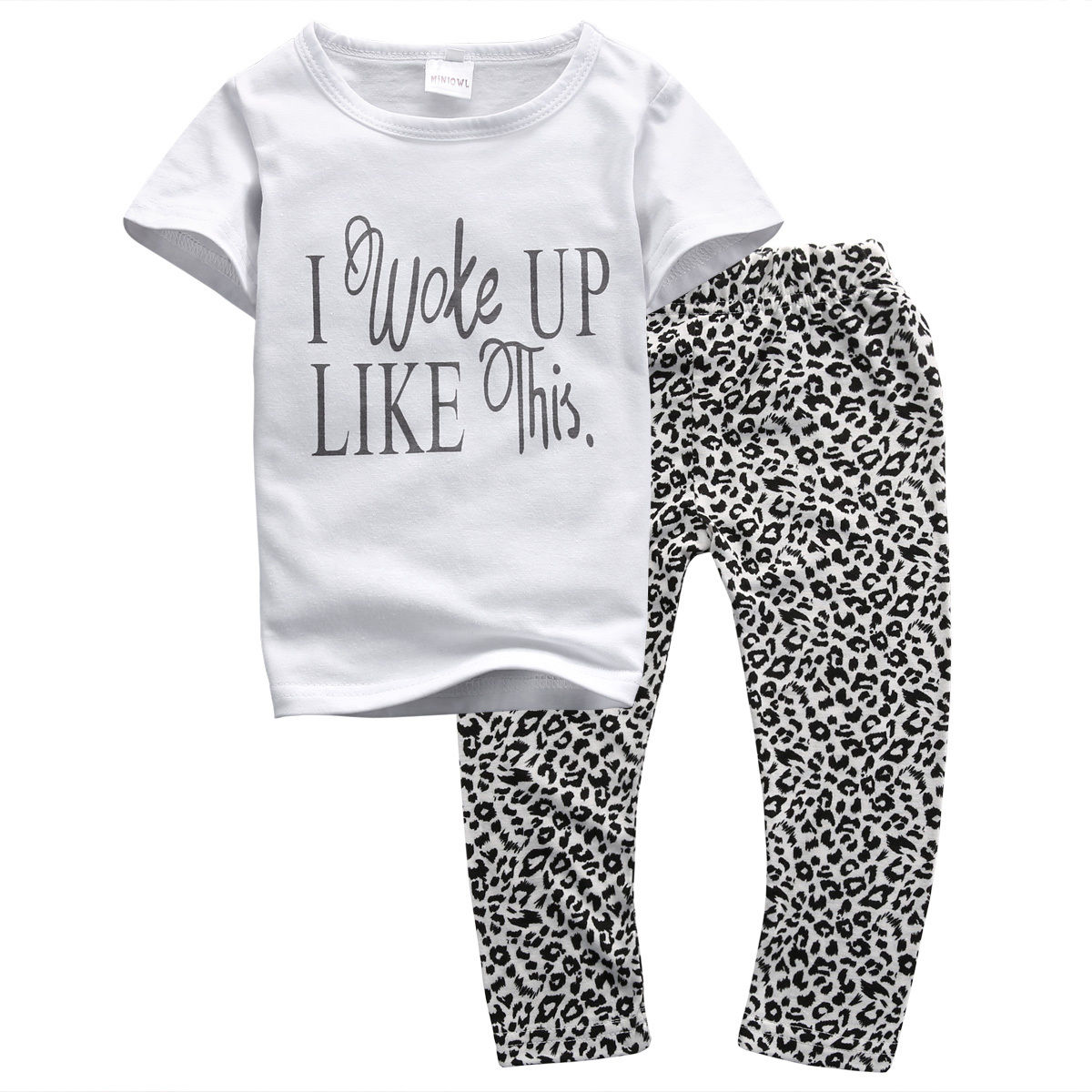 035723e331f I Woke Up Tops Long Pants 2PCS Set Toddler Kids Baby Girls Summer Outfits  Leopard Clothes T-shirt Infant Newborn Kid Girl