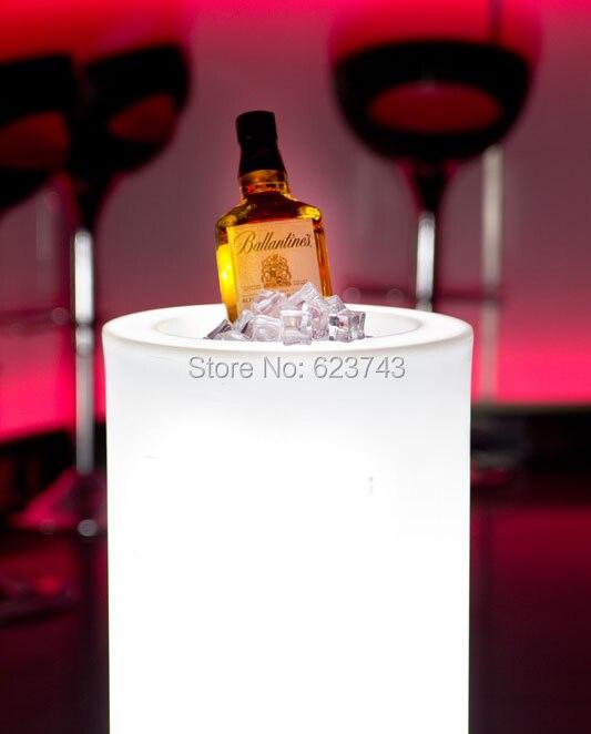 Waterproof Multi-Colors LED Light Slide Vaso Pots I-pot Champagne Ice Bucket Rechargeable Luminous Round Barrel Coolers H40cm