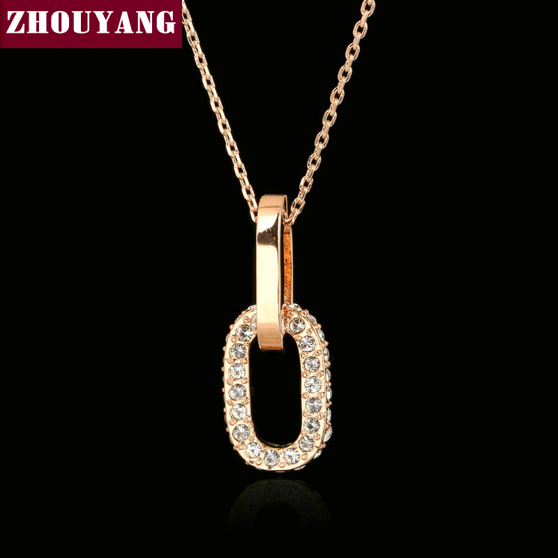 Top Quality Double Rounds Necklace Rose Gold Color Fashion Jewelry Nickel Free Pendant Austria Crystal ZYN131 ZYN133