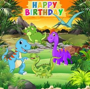 Image 2 - Karikatür dinozor parti zemin çocuk doğum günü partisi erkek fotoğraf stüdyosu için arka planlar özel vinil