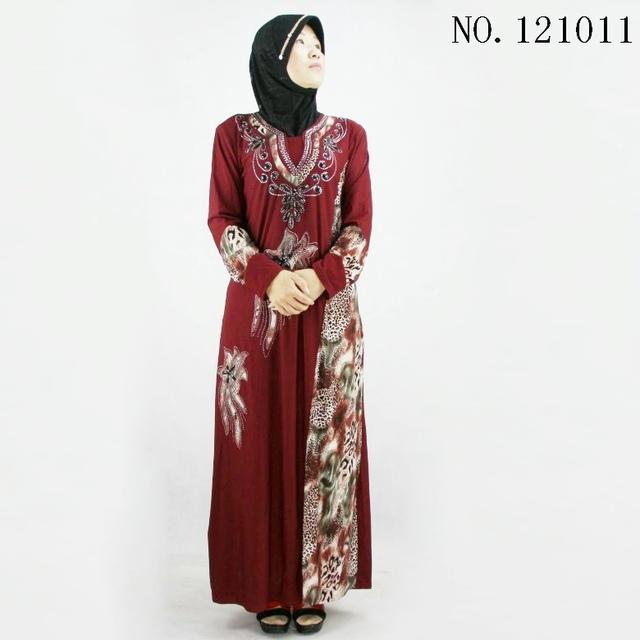 Muslim ladies abaya plus size dress Crystal Cotton hijab vetements beaded hot fix rhinestone burqa fashion red