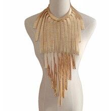 CirGen Fashion Women Gothic Gold Gun Black plated Chunky collar Long Tassel Body Chain Choker Statement Necklace Jewelry Item