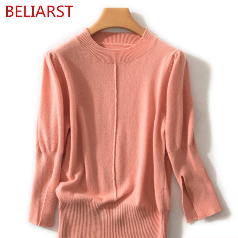 BELIARST 2019 Spring New Pure Wool Sweater Women s Round Neck Pullover Casual loose Seven Point