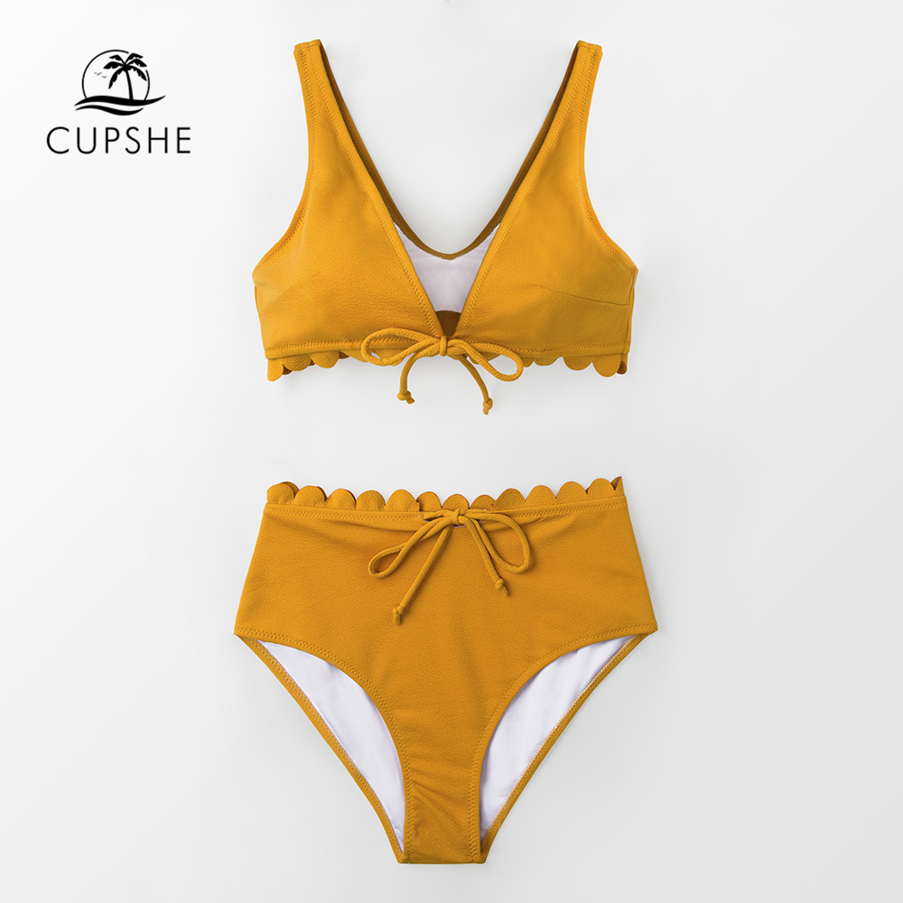 CUPSHE Sexy Yellow Tie-Front Scalloped Bikini Sets Women High Waist Solid Two Pieces Swimsuits 2020 Girl Beach Bathing Suits