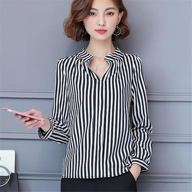 a930d6a72b Women Blouses Korea Fashion 2017 Summer V-Neck Elegant Striped Tops Long  Sleeve Shirts Casual Office Work Wear Chiffon Blouse