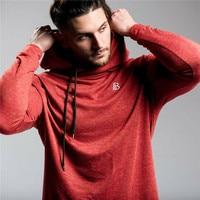 Brand Gym Running Men T Shirt Hoodie Sweatshirt Sport Hooded Long Sleeve T Shirts Fitness Bodybuilding