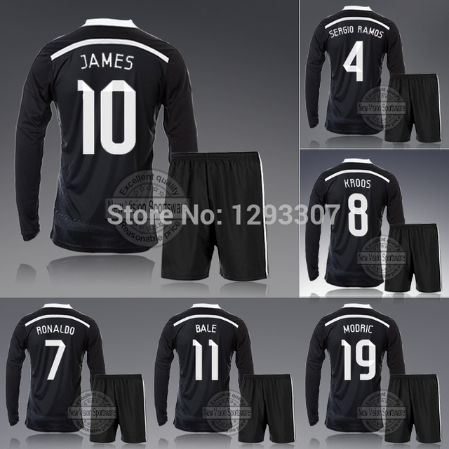 14 15 Madrid Black Third Full Long Sleeve Ronaldo Bale James Kroos Football  Kit Uniform Men Sweatshirt Outfit Soccer Jersey Set afc8bb067