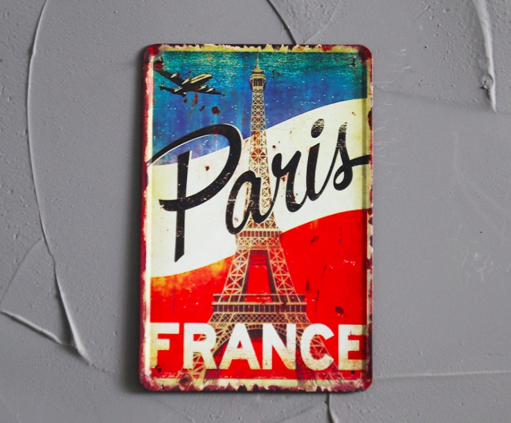 1 pc Paris France French flag Eiffel tower Tin Plates Signs wall Room man cave Decoration bar Art retro vintage Poster metal in Plaques Signs from Home Garden