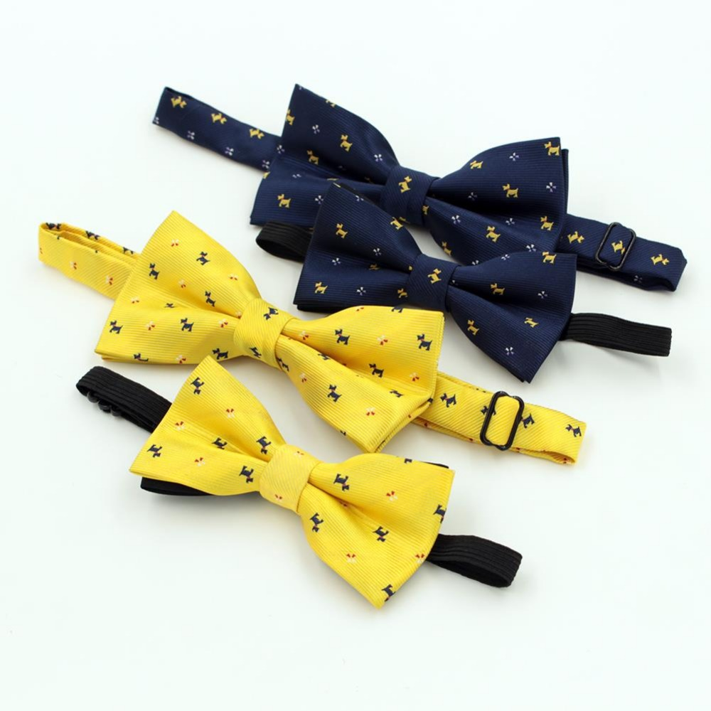 NEW Best Selling Cartoon Bow Tie For Men Kid Fashion Lovely Dog Pattern Wedding Party Yellow Blue Bowtie Children Cravat