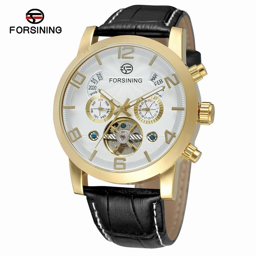 Forsining Tourbillion Luxury Casual Design Mens Watch Mechanical Automatic Self-Wind Wrist Watches + Gift Box forsining new watches men gold rose tourbillion automatic mechanical watch wristwatch with gift box
