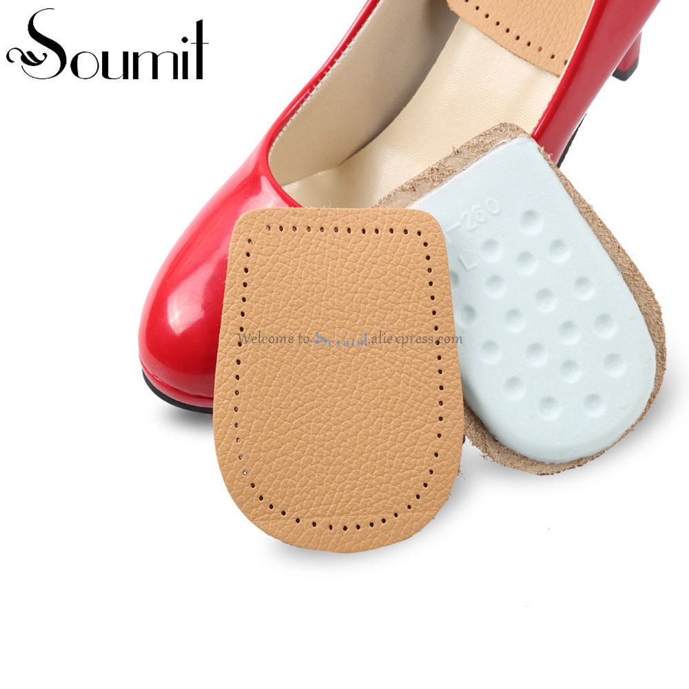 Leather Latex Foot Care Insoles Half Size Thickened Heel Pads Cowskin Flat Foot Massage Shoes Pad Foot Pain Relief Heel Cushions 2 pcs foot care insoles invisible cushion silicone gel heel liner shoe pads heel pad foot massage womens orthopedic shoes z03101