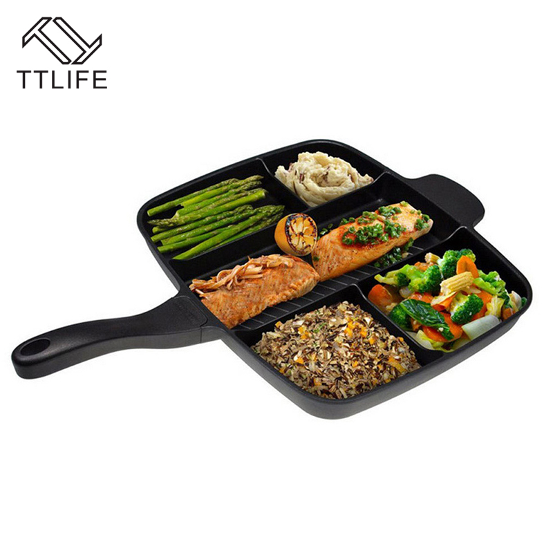 TTLIFE New 5-in-1 Multifunction Breakfast Fryer Pan Flat Non-stick Divided Grill Fry Pan Frying Eggs Steak Pan for Cooker