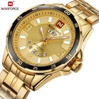 NAVIFORCE Top Luxury Brand Gold Mens Quartz Watch Business Wristwatch Date Display Luminous Hands Waterproof Relogio