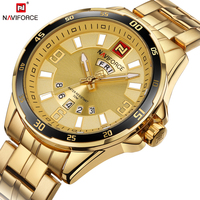 NAVIFORCE Top Luxury Brand Gold Mens Quartz Watch Business Wristwatch Date Display Luminous Hands Waterproof Relogio