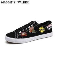 Мэгги Walker Для мужчин Мода Повседневное обуви холст шнуровкой повседневные весенние туфли на платформе открытый вышитые Обувь размеры 39–44
