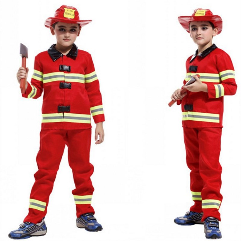 Smart M~xl New Fireman Boys Cosplay Hallowean Children Dress Up Party Fancy Stage Carnival Costume Kids Firefighters Uniform Suit Boys Costumes